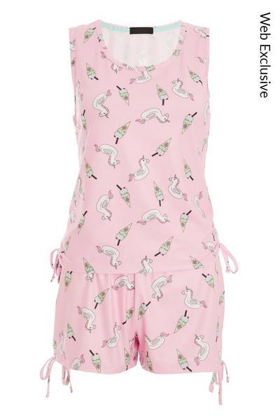 Pink Unicorn Short Pyjama Set